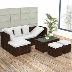 Brrnoo Garden Lounge Set with Cushions, 4 Piece Garden Lounge Set with Cushions,4 Piece Garden Lounge Set with Cushions Poly Rattan Brown