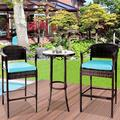 Outdoor High Top Table and Chair, Patio Furniture High Top Table Set with Glass Coffee Table, Removable Cushions, Outdoor Bar Table with Chair, Patio Bistro Set for Backyard Poolside Balcony, Q17058