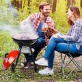 Kenbi 18 Inch Round Kettle Charcoal BBQ - 18 Inch Barbecue Grill With Red Lid New US