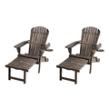 Classic Dark Brown Adirondack Chaise Lounge Chair Foldable, cup and glass holder, Set of 2