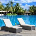 Outdoor Chaise Lounge Chair, YOFE 3 PCS Wicker Patio Chaise Lounge Set, Adjustable Outdoor Chaise Lounge Chairs Set w/ Beige Cushions/ Tea Table, Reclining Chairs for Patio Beach Pool Backyard, R1707