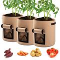 1/2/3/5/10 Pack 7 Gallon Potato Grow Bags, Planter Bag, Garden Bags for Vegetable, Fabric Planting Pots with Handles, Potato Planter Bag with Access Flap, Breathable Nonwoven Growing Gags