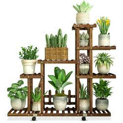 Indoor Outdoor Garden 5 Tier Wooden Plant Stand With Wheels Planter Flower Pot Shelf Home Decor