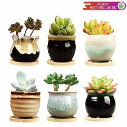2.5 Inch Ceramic Succulent Planter Pot With Drainage,Planting Pot Flower Pots,Small Planter Pots For Garden,Cactu,Succulent Pot,Mini Flower Pots With Holes,Ceramic Flowing Glaze Base Serial Set