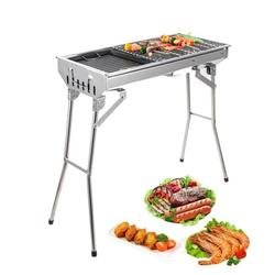 enyopro Portable Charcoal BBQ Grill, Foldable Barbecue Grill, Stainless Steel Outdoor Hibachi Grill, Large Grilling Surface and Capacity Grill for Camping, Travel, Garden, Backyard, Outdoor, K1423