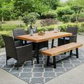 MF Studio Outdoor 6 Piece Acacia Wood Dining Set Patio Dining furniture with 4PCS Wicker Dining Chairs and 1PC Acacia Wood Dining Table and 1PC Acacia Wood Bench, Multi-Brown, Suitable for Patio, Garden, Backyard, Dining Room and Porch