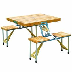 33'' Foldable Wooden Camp Table,Outdoor Picnic Table With 4-Person Chair Seats & Umbrella Hole,Waterproof Durable for Home Garden Patio Hiking Yard Barbecue Travel Hiking