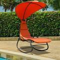 Gymax Patio Lounge Chair Chaise Garden w/ Steel Frame Cushion Canopy Orange