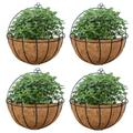 4 Pcs Fence Hanging Planters Metal Wall Planter Hanging Plant Basket Metal Hanging Planter with Coconut Liners for Planters, Wire Large Hanging Planters for Outdoor Plants for Garden