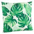 "Fennco Styles Green Tropical Palm Leaf Print Decorative Throw Pillow 18""W x 18""L"