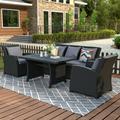 Outdoor Patio Furniture Set 4-Piece Conversation Set Black Wicker Furniture Sofa Set Rattan Dining Table Set with Dark Grey Cushions