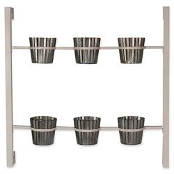 """Kate and Laurel Groves Herb Garden 6-Pot Wall Planter in White, Each pot measures 5.5"""" D x 5.5"""" W x 5"""" H"""