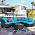 Outdoor Patio Sectional Sofa Set, 7 Piece Patio Furniture Set, 6 Rattan Wicker Chairs and Glass Table, All-Weather Outdoor Conversation Set with Cushions for Backyard, Porch, Garden, Poolside, L4778