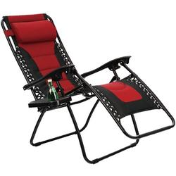 PHI VILLA Padded Zero Gravity Lounge Chair Patio Foldable Adjustable Reclining with Cup Holder for Outdoor Yard Porch Red