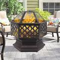 """Fire Pits for Outside, UHOMEPRO 24"""" Bonfire Wood Burning Fire Pit with Screen Lid, Iron Brazier Outdoor Fire Pit, Backyard Patio Garden Stove Fire Pit for BBQ Party Camping Picnic, Bronze, W14762"""