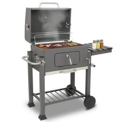 Charcoal Grill, Square Portable Charcoal Grill, Stainless Steel BBQ Grill with Shelf, Thermometer, Wheels, Charcoal BBQ Grill for Outdoor Picnic, Patio, Backyard, Camping, JA1176