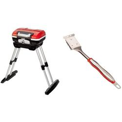 """Cuisinart CGG180 CGG-180 Petit Gourmet Gas Grill with VersaStand, Red, 31.5"""" H x 16.5"""" W x 16"""" L & CCB-134 Comfort Grill Cleaning Brush"""