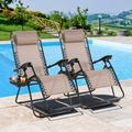 Jamfly Set of 2 Outdoor Adjustable Zero Gravity Chair, Patio Folding Lawn Outdoor Lounge Chair, Camp Reclining Chair with Pillows and Cup Holde for Poolside Backyard and Beach Khaki