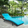 SUNCROWN Pool Chaise Lounge Chair Outdoor Patio Furniture Adjustable Folding Wicker Couch Bed with Blue Cushion