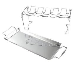 Foldable Vertical Roaster Chicken Holder Stainless Steel BBQ Accessories Chicken Wing Grill Rack with Drip Pan