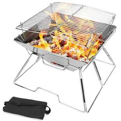 GOODWORLD Foldable BBQ Grill, Portable Stainless Steel Foldable Charcoal Grill, 2 in 1 Stainless Steel Wood Burning Stove, Barbecue Cooking Stove for Outdoor/Garden/Camping/Picnic/Party, 12.5 in