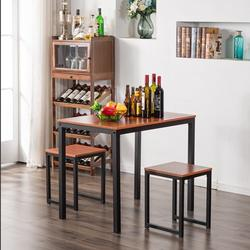 Kitchen Table Set, YOFE Modern Dining Room Table Sets, 3 Piece Kitchen Table Set w/ 2 Stools, Small Dining Table Sets for 2, Metal Frame Kitchen Table Set with Chair for Small Spaces, Beige, R3559