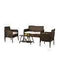 4 Pieces Outdoor Patio Furniture Sets Rattan Chair Wicker Set, Outdoor Indoor Use Conversation Set with Table Backyard Porch Garden Poolside Balcony Furniture Sets (Beige + Brown)