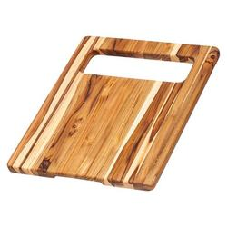 Teak Cutting Board - Rectangle Edge Grain Board With Corner Hole And Juice Canal (18 x 14 x .75 in.) - By , Beautiful Canal Rectangle Juice Black.., By Teakhaus Ship from US