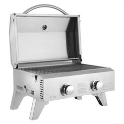 Tabletop Grill, Portable Stainless Steel Gas Grill 2-Burner Gas BBQ Grill with Foldable Legs for Outdoor Camping Picnic
