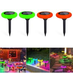 Solar Pathway Lights, 7 Color Solar Garden Lights, Solar Walkway Lights Outdoor, Solar Garden Lights Waterproof for Garden, Patio Yard Landscape Pathway and Driveway, 4Pack, J74