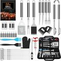 35Pcs BBQ Grill Grilling Accessories Tools Set, Barbecue Tool Sets with Thermometer, Steel Fork, Stainless Steel Tongs and Spatula, Meat Injector, Grill Mat, BBQ Accessories for Grill Outdoor
