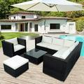 Patio Furniture Sectional Sofa Set, 8 PCS Rattan Wicker Sofa Set, Premium All Weather Sofa Couch Conversation Set w/Glass Table and 14 Zippered Cushions for Deck Garden Backyard Poolside, K2711