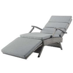 Modern Contemporary Urban Design Outdoor Patio Balcony Garden Furniture Lounge Chair Chaise, Rattan Wicker, Grey Gray