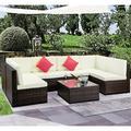 Patio Conversation Set, 7 Piece Outdoor Patio Furniture Sets, 6 Rattan Wicker Chairs and Glass Table, All-Weather Patio Sectional Sofa Set with Cushions for Backyard, Porch, Garden, Poolside, LLL861