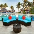 4 Piece Outdoor Patio Sofa Furniture Sets, Brown Rattan Wicker Patio Set, Half-Moon Sectional Sofa w/ Pillow&Coffee Table, Outdoor Conversation Sets for Garden Lawn Pool Backyard, Blue Cushion, W7888