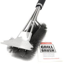 TOFTMAN BBQ Grill Brush and Scraper, Heavy-Duty Grill Brush with Stainless-Steel Bristles and Extra-Long Nonslip Handle for Cleaning, Stainless-Steel BBQ Grill Accessories for Serious Grill Masters