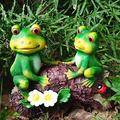 """JHP Frog Garden Statue, Green Frogs Resin Animal Sculpture for Patio Yard Art and Lawn Ornaments, Frogs Sitting on Wood Indoor Outdoor Decoration Sculpture -7"""" H"""