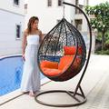 Island Gale® Luxury Hanging Hammock Porch Rattan Wicker Swing Chair with Free Cover Outdoor Egg Chair with Cushion