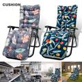 Willstar 2Pcs Sun Lounger Cushion Pad Thick Garden Recliner Chair Cushion Replacement Sunbed Cushions with Anti Slip Hood and Ties Garden Furniture Chair Recliner Cushion Padded Mat for Garden Indoor