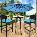 Outdoor High Top Table and Chair, Patio Furniture High Top Table Set with Glass Coffee Table, Removable Cushions, Outdoor Bar Table with Chair, Patio Bistro Set for Backyard Poolside Balcony, Q17056