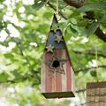 Glitzhome Patriotic Wooden Garden 12.5 in x 4 in x 4.5 in Birdhouse