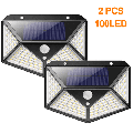 Xelparuc 2 Pieces of Solar Lamps for Outside, 100 LED Super Bright Solar Lamp Outside 800 Lumens 3 Modes Solar Wall Lamp Waterproof Solar Outside Lamp for Garden