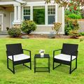3 Pieces Patio Rattan Chair Sets, Outdoor Bistro Set, PE Wicker Patio Furniture Sets, Front Porch Furniture Chairs Set with Glass Coffee Table for Backyard Deck Poolsid Garden, JA1949