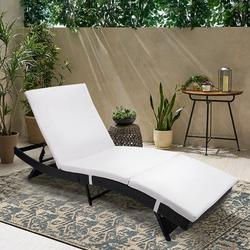 Chaise Lounge Chair Outdoor, Wicker Patio Chaise Lounger with Cushion, All-Weather Adjustable Sun Chaise Lounge Furniture, Reclining Backrest Chaise Lounge for Backyard Pool Porch Garden, K3718
