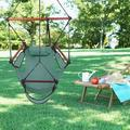 Camping Swing Chair Portable Hanging Chair Outdoor Lounge W/ Drink Holder Foot Seat for Indoor Outdoor Yard Deck Garden, Green