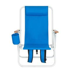 Folding Beach Chair Portable Backpack Beach Chair Patio Folding Lightweight Camping Chairs Outdoor Garden Park Pool Side Lounge Chair with Cup Holder, Blue