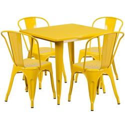 """Flash Furniture Commercial Grade 31.5"""" Square Yellow Metal Indoor-Outdoor Table Set with 4 Stack Chairs [ET-CT002-4-30-YL-GG]"""