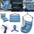 Amerteer Hammock Chair Swing, Relax Hanging Rope Swing Chair with Two Seat Cushions, Cotton Hammock Chair Swing Seat for Yard Garden Bedroom Patio Porch Indoor Outdoor-Blue