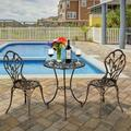 Outdoor Metal Bistro Table Set, 3 Pieces Bistro Set Cast Tulip Design Antique Outdoor Patio Furniture Weather Resistant Garden Round Table and Chairs, Garden Conversations Set for Porch Balcony, Q9478