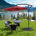 Large Outdoor Umbrella for Patio Deck, YOFE 10Ft Offset Patio Umbrella with Cross Base, Iron Cantilever Patio Umbrellas with Crank & Tilt System, Round Folding Market Umbrella, Burgundy, D3228